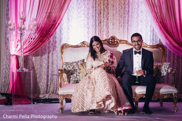Indian wedding reception in Jersey City, NJ Indian Wedding by Charmi Pena Photography