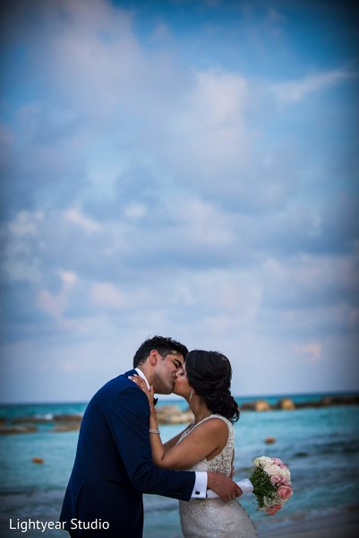 Wedding Portrait in Playa del Carmen, Mexico Pakistani Desitination Wedding by Lightyear Studio