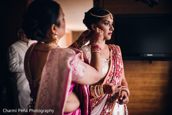 Indian bride getting ready in Jersey City, NJ Indian Wedding by Charmi Pena Photography