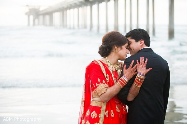Reception Portrait in La Jolla, CA Indian Fusion Wedding by ABM Wedding Photography