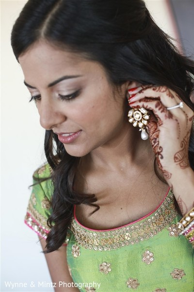 Indian bride getting ready in Danvers, MA Indian Fusion Wedding by Wynne & Mintz Photography