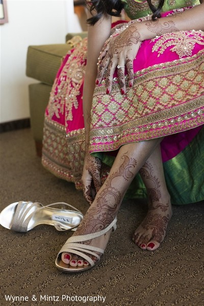 Indian bride getting ready in Danvers, MA Indian Fusion Wedding by Wynne & Mintz Photo Studio