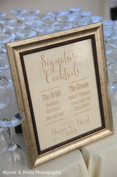 Signature cocktails in Danvers, MA Indian Fusion Wedding by Wynne & Mintz Photography