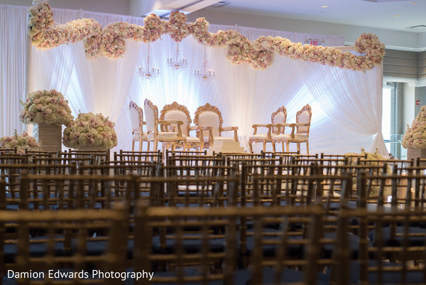 Ceremony Decor in Jersey City, NJ Indian Wedding by Damion Edwards Photography
