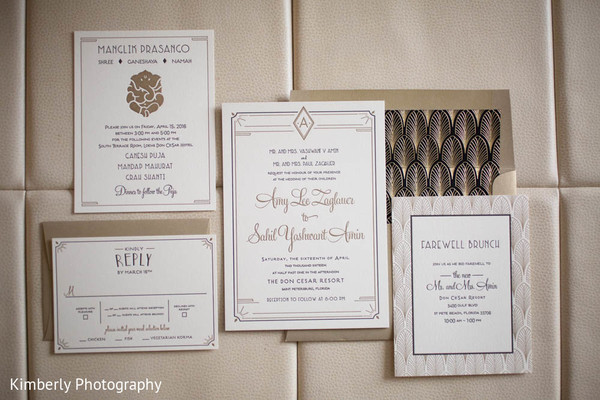 Modern indian wedding stationery in St. Petersburg, FL Indian Fusion Wedding by Kimberly Photography