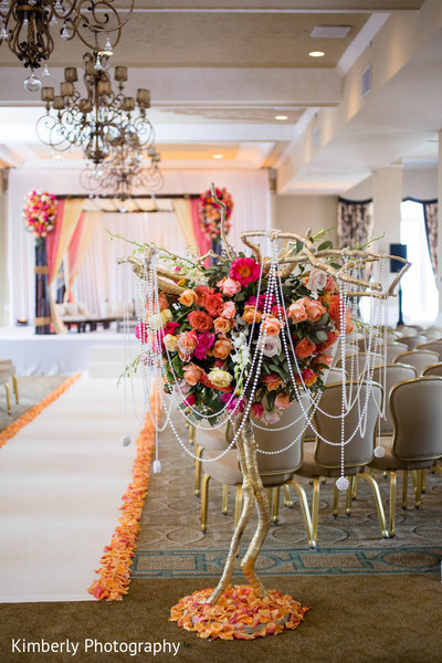 Ceremony floral and decor in St. Petersburg, FL Indian Fusion Wedding by Kimberly Photography