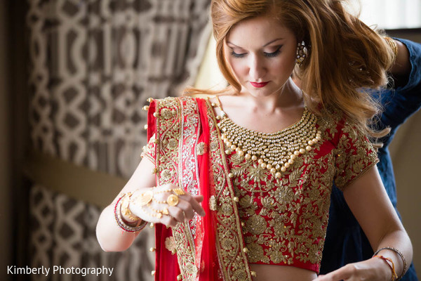 Bride getting ready in St. Petersburg, FL Indian Fusion Wedding by Kimberly Photography
