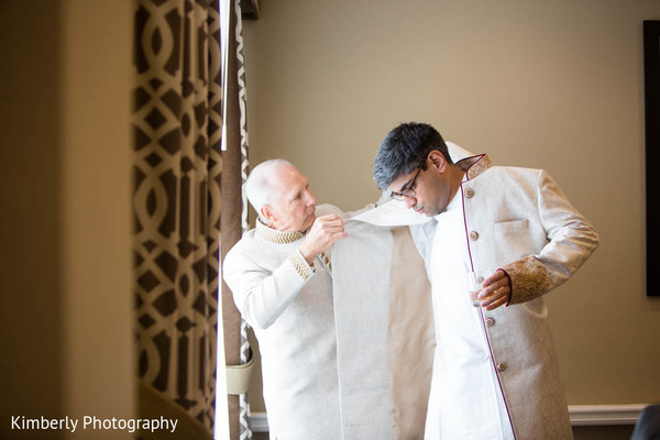 Indian groom getting ready in St. Petersburg, FL Indian Fusion Wedding by Kimberly Photography