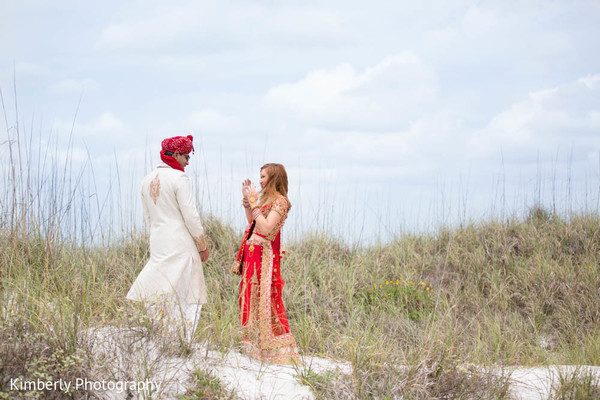 First look portrait in St. Petersburg, FL Indian Fusion Wedding by Kimberly Photography