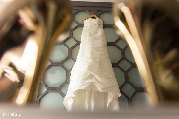 White wedding dress in Playa del Carmen, Mexico Destination South Asian Wedding by MnMfoto Wedding Photography