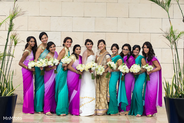 Bridal party in Playa del Carmen, Mexico Destination South Asian Wedding by MnMfoto Wedding Photography