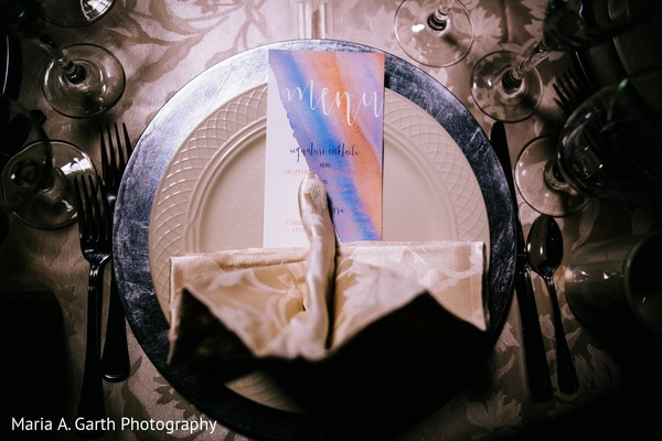 Table Setting & Stationery in Styled Indian Fusion Wedding Inspiration Shoot by Maria A. Garth Photography