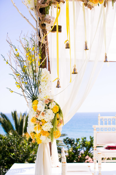 Mandap Details in Pacific Palisades, CA Indian Wedding by Callaway Gable