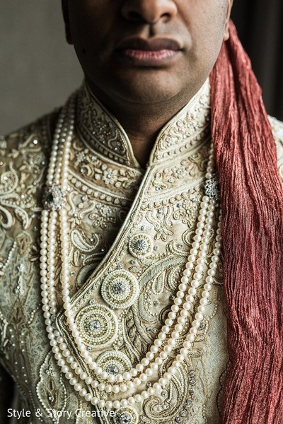 Sherwani Details in Columbus, OH Indian Fusion Wedding by Style & Story Creative