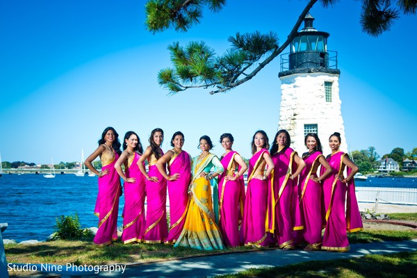 Bridal party in Newport, RI Indian Wedding by Studio Nine Photography + Cinema