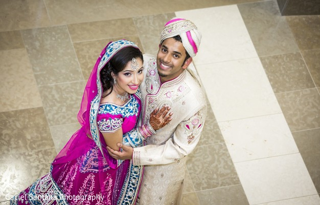 First Look Portrait in West Palm Beach, FL Indian Wedding by Gaciel Santana Photography