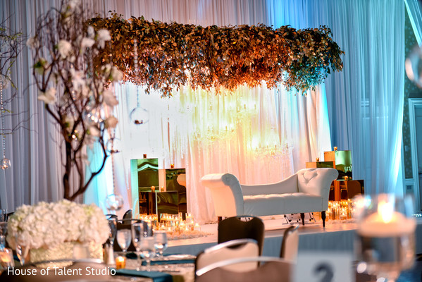 Indian wedding reception floral and decor in Hauppauge, NY Indian Wedding by House of Talent Studio