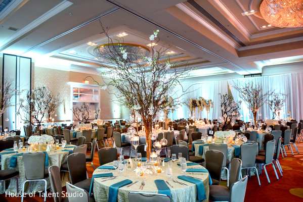 Reception floral and decor in Hauppauge, NY Indian Wedding by House of Talent Studio
