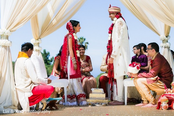 Ceremony in Rancho Palos Verdes, CA Indian Wedding by Lin & Jirsa Photography
