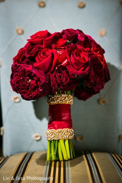Bridal Bouquet in Rancho Palos Verdes, CA Indian Wedding by Lin & Jirsa Photography