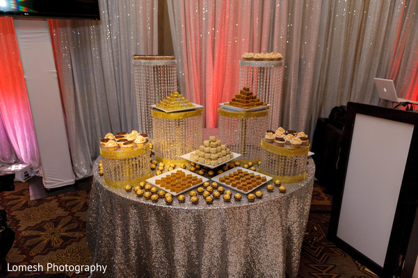 Dessert table for Indian wedding reception in San Antonio, TX Indian Wedding by Lomesh Photography
