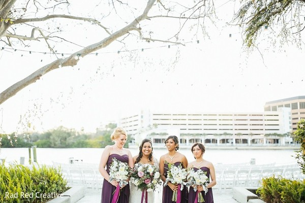 Bridal Party in Tampa, FL Hindu-Christian Fusion Wedding by Rad Red Creative