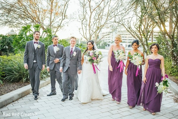 Wedding Party in Tampa, FL Hindu-Christian Fusion Wedding by Rad Red Creative