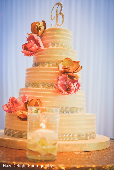 Indian wedding cake in Miami, FL Indian Wedding by HazeDelight Photography