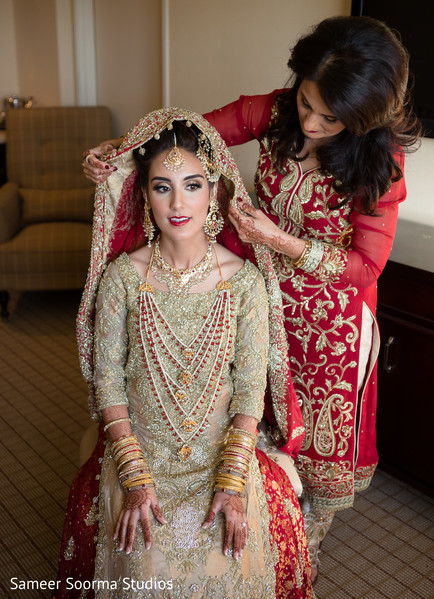 Indian bride getting ready in Phoenix, AZ Pakistani Wedding by Sameer Soorma Studios