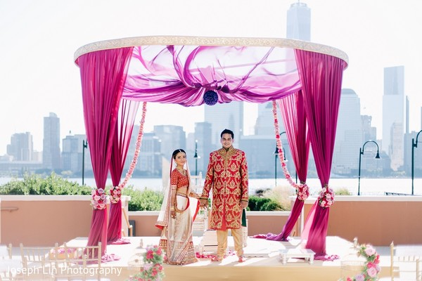 First Look in Jersey City, NJ Indian Wedding by Joseph Lin Photography