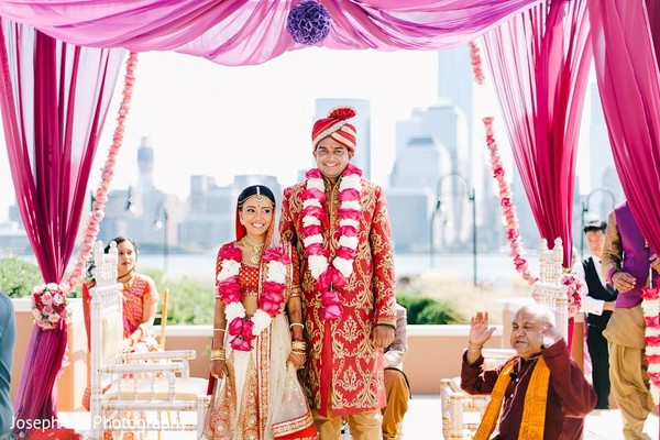 Ceremony in Jersey City, NJ Indian Wedding by Joseph Lin Photography