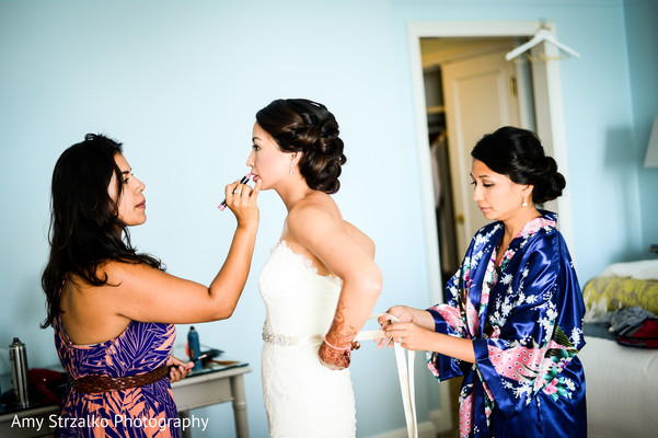 Bride getting ready in Grand Cayman Destination Indian Wedding by Amy Strzalko Photography
