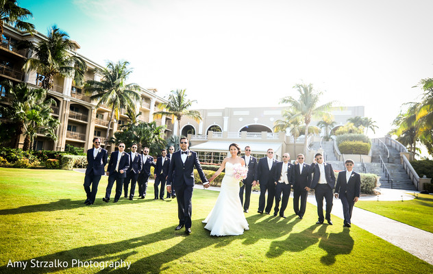 Wedding party portrait in Grand Cayman Destination Indian Wedding by Amy Strzalko Photography