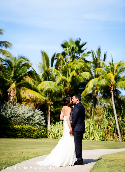 First look portrait in Grand Cayman Destination Indian Wedding by Amy Strzalko Photography