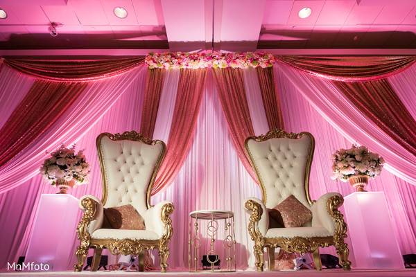 Reception floral and decor in Garland, TX Indian Wedding by MnMfoto Wedding Photography