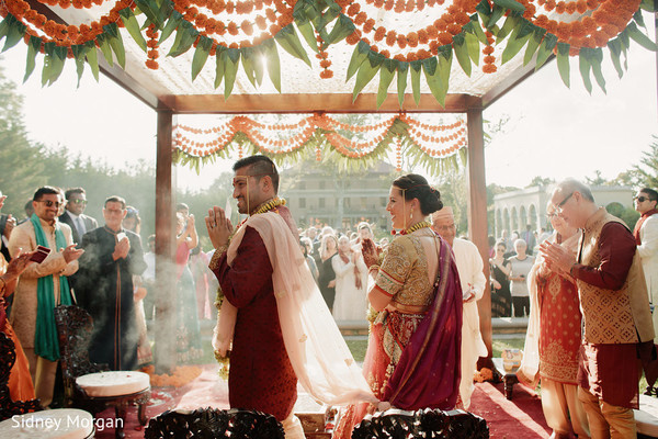 Ceremony in Staten Island, NY Indian Fusion Wedding by Sidney Morgan Photography