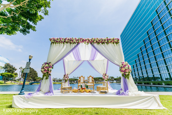Ceremony Decor in Long Beach, CA Indian Wedding by RANDERYimagery