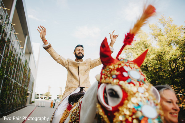 Baraat in Dallas, TX Indian Wedding by Two Pair Photography