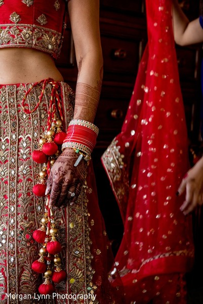 getting ready,indian bride getting ready,red lengha
