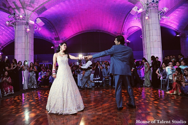 indian-wedding-reception-dance-bride-groom-hot-pink-purple-cream,Lighting