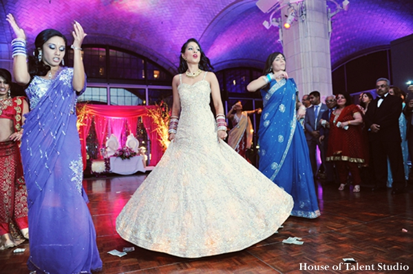 indian-wedding-reception-dance-bride-white-gown-purple-cream,Lighting
