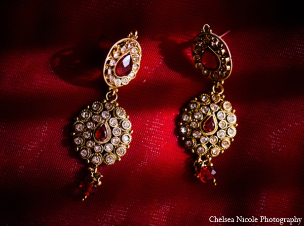 Indian Wedding Bride Jewelry Gold Red Earrings