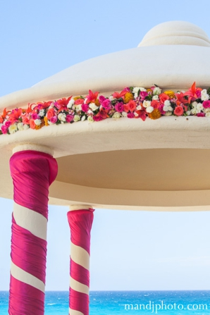 beach,weddings,detail,of,floral,on,mandap,floral,on,the,mandap,indian,wedding,decor,indian,wedding,mandap,M,&,J,Photography,Planning,&,Design
