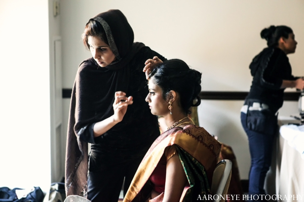 Indian wedding bridal ceremony getting ready