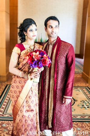 Indian wedding bridal groom bouquet portrait