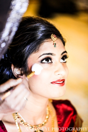 Indian wedding bridal makeup getting ready