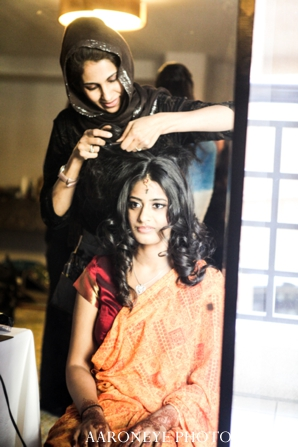 Indian wedding bride ceremony hair prep