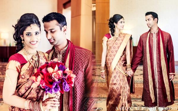 Indian wedding bride groom portrait bridal bouquet