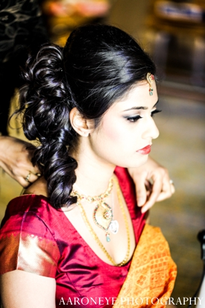 Indian wedding bride jewelry hair makeup