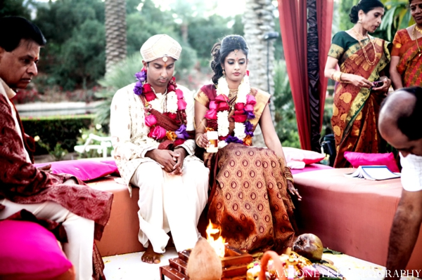 Indian wedding ceremony bride groom mandap outdoors
